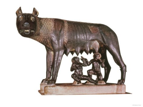 She-Wolf, c. 500 BC with Figures of Romulus and Remus by Antonio Pollaiuolo (1433-98) c. 1484-96 Giclee Print Art (12 x 9 in)