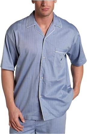 Nautica Sleepwear Men's Herringbone Woven Short Sleeve Camp,Blue Bone,Small