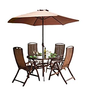 Havana Metal 4 Seater Dining Set Bronze With Round Table And P