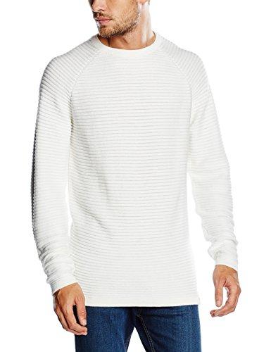 JACK & JONES Jcowind Knit Crew Neck Noos, Felpa Uomo, Bianco (Blanc De Blanc), Large (Taglia Produttore: L)