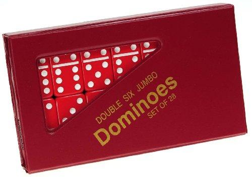 Dominoes Jumbo RED with White Pips _ Double Six Set of 28