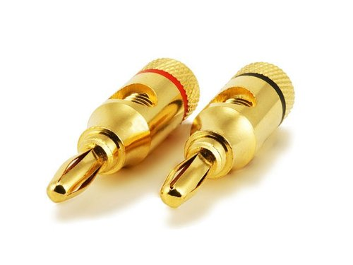 Gold Plated Speaker Banana Plugs 8 Total (4 Pairs Red/Black) By Atomic Market