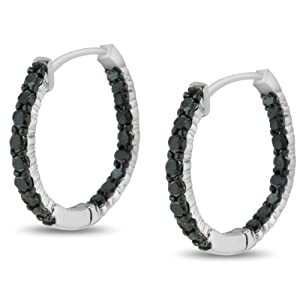 1ct Black Diamond Pave Inside Out Hoop Earrings Crafted In Solid Sterling Silver