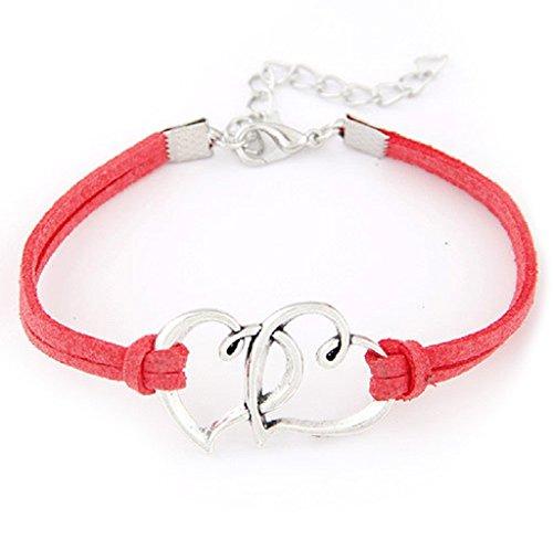 Braccialetto Familizo Regalo del braccialetto tessuto 1PC amore delle donne del cuore della lega a mano corda gioielli Charm_Rosso