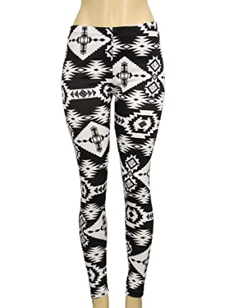 Black and White Native American Design Print Leggings (Small)