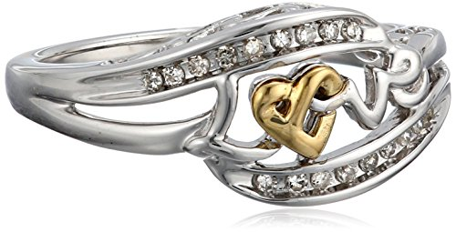 Sterling Silver and 14k Yellow Gold Knotted Design Love Diamond Accented Ring (1/10 cttw, I-J Color, I2-I3 Clarity), Size 7