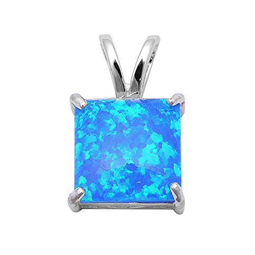 Lab Created Blue Fire Opal .925 Sterling Silver Pendant