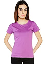 Arg Creations Womens Round Neck Printed Top (AC_004_Purple_Medium)