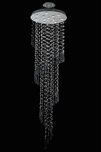 Comet Collection Large Hanging Fixture Black Prism Drops H96In D28In Lt:12 Chrome Finish (Royal Cut Crystals) front-666122