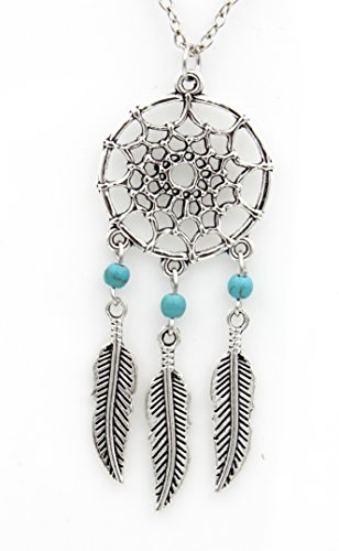 Boho-Feather-Tassel-Turquoise-Bead-Necklace-Bohemia-Indian-Tribal-Navajo-Dream-Catcher