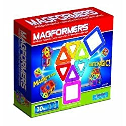 Toy / Game Magformers Magnetic Building Construction Set - 30 Piece Rainbow Set With Triangles And Squares