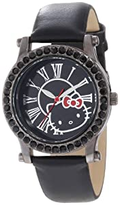 Hello Kitty Women's H3WL1043BK Black Plated Case Leather Strap Roman Numeral Dial Watch