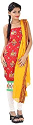Hansika Women's Cotton Silk Unstitched Dress Material (HGW-14, Tomato Red)