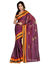 Fabdeal Indian Designer Cotton Purple Plain Saree - B00IXGK530