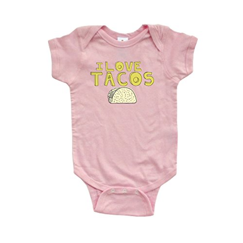 Apericots Funny I Love Tacos Short Sleeve Baby Bodysuit With Taco Design (Pink Taco Shells compare prices)