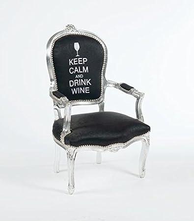 Poltrona barocco argento nera Keep Calm