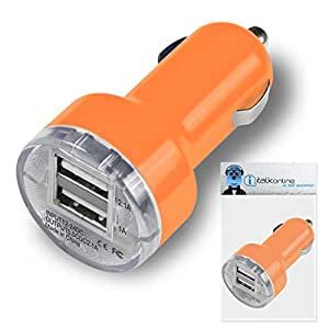 Orange Dual 2.1 / 1 Amp [ 3.1A ] Compact Fast Charge 2 x USB Ports Car Charger Adapter For HP iPaq Glisten