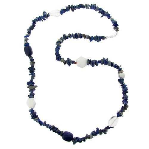 Sterling Silver Multi-Blue, Clear and White Genuine Stone Chip and Nugget Necklace, 30