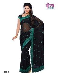 Black Color Georgette party wear fancy designer saree - B00MZ5Q2BO