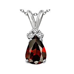 1.56 cttw Genuine Garnet and Diamond Pendant in 14k White Gold LIFETIME WARRANTY