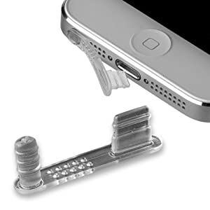 yayago 2 in 1 Set: Stöpsel Staubschutz Schutz-Kappe + Headset Stöpsel in transparent für Apple iPhone 5 / 5S / 5C