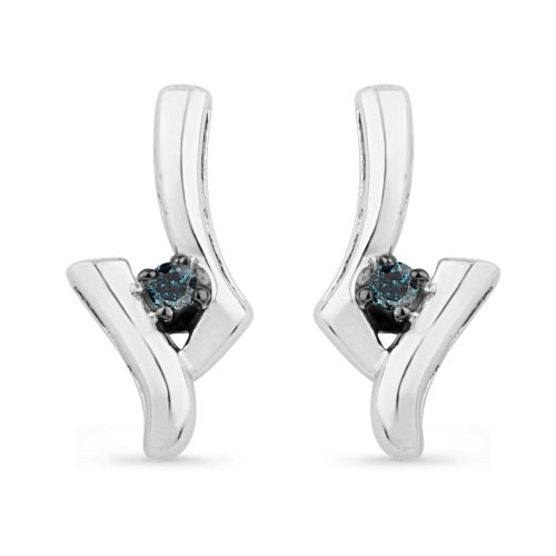Platinum Plated Sterling Silver Blue Round Diamond Fashion Earring (1/20 cttw)