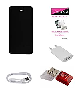 Lomoza Black Flip Cover for Intex Aqua 3G Plus, Tempered Glass, Charger, Data Cable, Card Reader
