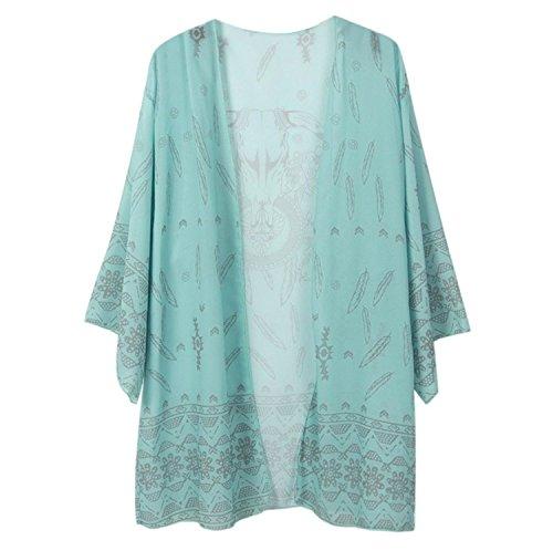Sakya Women Printed Chiffon Shawl Kimono Cardigan Tops Cover up / Beach Dress, Blue
