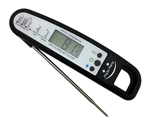 MadeMarle Meat Thermometer Digital Instant Read Cooking Thermometer 4 second with Food-Safe Folding Long Probe Stainless, Back Light and Magnet for Food, BBQ, Grill, Milk and Water (Bbq Light Magnet compare prices)