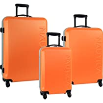 Nautica Luggage Ahoy 3 Piece Hardside Spinner Outer Shell Set, Orange/Silver, One Size