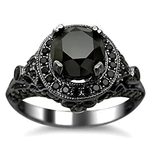 2.54ct Black Round Diamond Engagement Ring 14k Black Gold Rhodium Plating Over White Gold