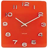 Karlsson Vintage Glass Wall Clock, Red, Square