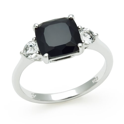 Sterling Silver Elegant Ring with Square Onyx and White Topaz Gemstones, Free Shipping and Gift Box