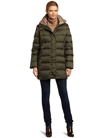 Nautica Women's 3/4 Inch Length Down Walker Jacket, Green, Small