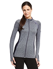 M&S Collection Active Performance Zip Through Marl Top