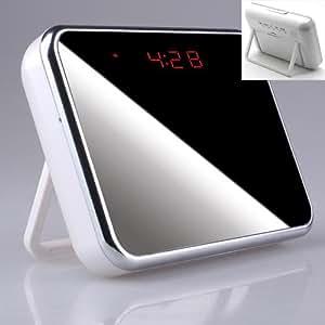 Blanc effet miroir Reveil Camera Espion Detecteur Mouvement Montre Horloge Photo