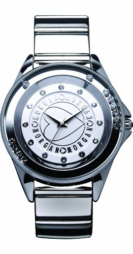 Morgan M1034S Ladies Watch Quartz Analogue White Dial Grey Metal Strap
