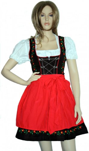3 teilig mini dirndl dirndel dirndlbluse dirndlsch rze trachtenkleid rot gr e 36 testsieger. Black Bedroom Furniture Sets. Home Design Ideas
