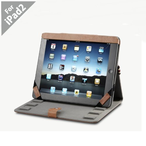 Acase Genuine Hand Made Leather Flip Book Jacket/folio for Apple iPad 2 2nd Generation - 16GB, 32GB, 64GB, WiFi and WiFi +3G (Brown)
