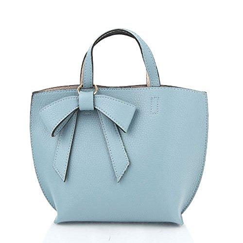 ミニサイズの柔らか素材のリボンチャーム2WayバッグS/ブルー