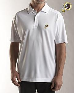 NFL Washington Redskins Mens Drytec Genre Polo Knit Short Sleeve Top, White by Cutter & Buck