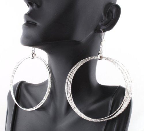 Ladies Silver Six Circles Sparkle Style Dangle Hoop Earrings