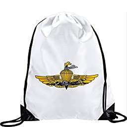 Large Drawstring Bag with US Marine Corps Force Reconnaissance, branch insignia - Long lasting vibrant image