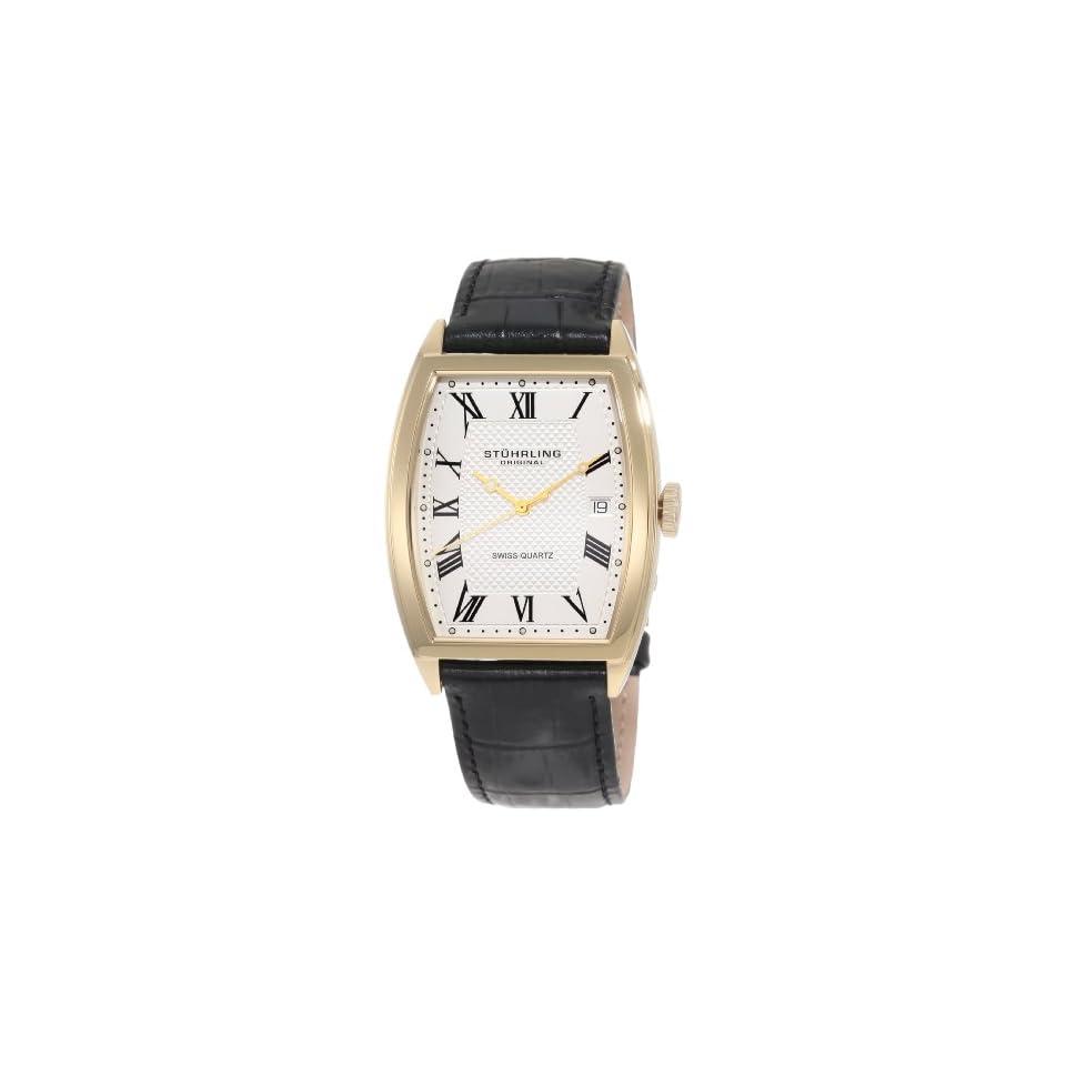 Stuhrling Original Mens 241.33352 Classic Madison Park Avenue Swiss Quartz Gold Tone Case Black Leather Strap Watch