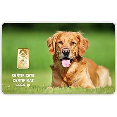 Goldbarren Geschenkkarte 0,5 g 0,5g Gramm Feingold 999.9 Nadir Gold Tier Hund