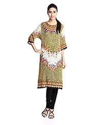 Indian By Manish Arora Women's Viscose Crepe Straight Kurta