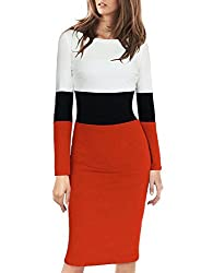 Viwenni Women's Elegant Long Sleeve Colorblock Wear to Work Sheath Pencil Dress