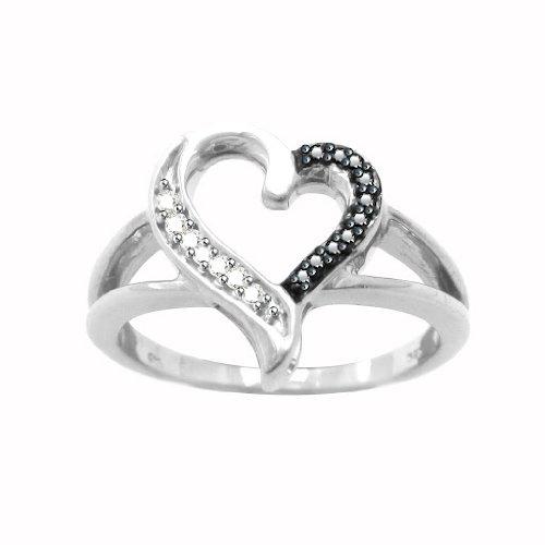 Platinum Plated Sterling Silver Black & White Diamond Heart Promise Ring
