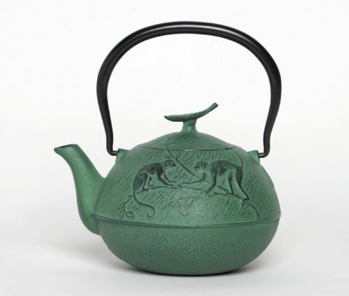 Joyce Chen 25-Ounce Japanese Tetsubin Cast-Iron Year Of The Monkey Teapot, Green