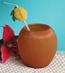 Luau Brown Plastic Coconut Cups